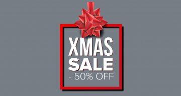 Αυτοκόλλητα καταστημάτων - Xmas sale σε κόκκινο πλαίσιο