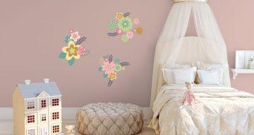 Αυτοκόλλητα Τοίχου - Χρωματιστά λουλούδια και φύλλα