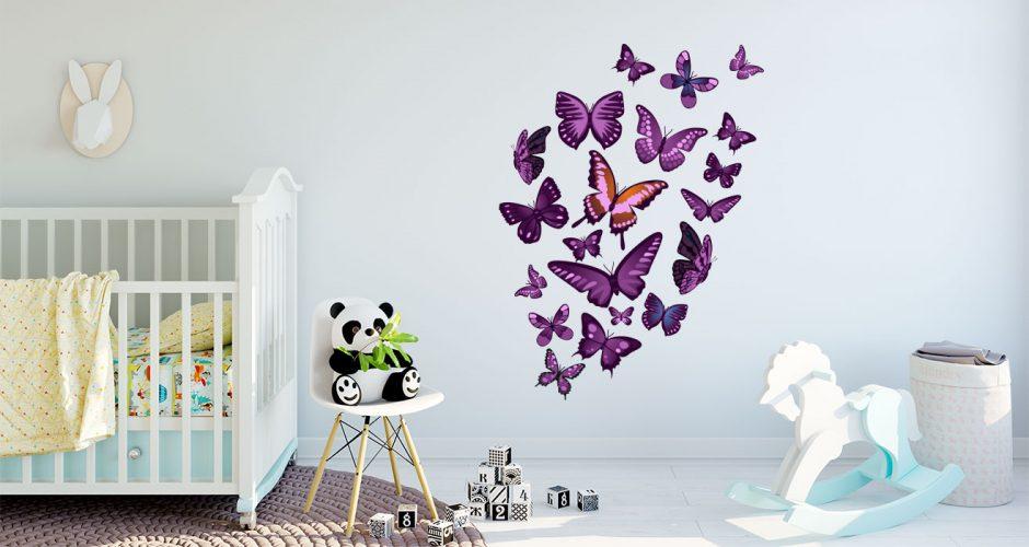 Αυτοκόλλητα Τοίχου - Αυτοκόλλητο τοίχου με διάφορες μώβ πεταλούδες