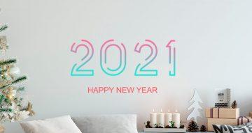 Αυτοκόλλητα καταστημάτων - Happy New Year πολύχρωμο σε στυλ διακεκομμένων γραμμών