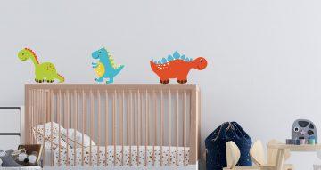 Αυτοκόλλητα Τοίχου - Χρωματιστοί μικροί δεινόσαυροι