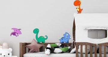 Αυτοκόλλητα Τοίχου - Μικροί χαριτωμένοι δεινόσαυροι