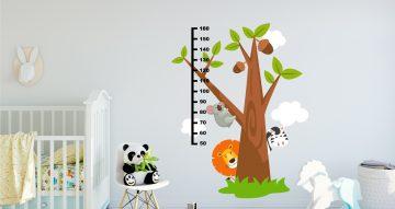 Αυτοκόλλητα Τοίχου - Μετρητής ύψους με δέντρο και ζωάκια