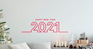 Αυτοκόλλητα Τοίχου - Κόκκινο Happy New Year σε στυλ κορδέλα