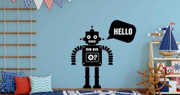 Αυτοκόλλητα Τοίχου - Ρομποτάκι που λεεί Hello