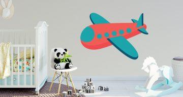 Αεροπλάνα - Κόκκινο αεροπλάνο σε στυλ παιδικό σχέδιο