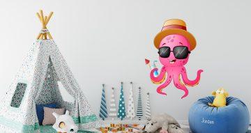 Αυτοκόλλητα Τοίχου - Αστείο χταπόδι με καπέλο και γυαλιά