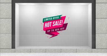 """Αυτοκόλλητα καταστημάτων - Αυτοκόλλητο εκπτώσεων """"Hot Sale"""" μισή τιμή"""