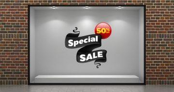 """Αυτοκόλλητα καταστημάτων - """"Special Sale"""" σε μαύρη κορδέλα"""