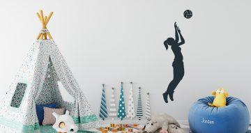 Αυτοκόλλητα Τοίχου - Μονόχρωμη φιγούρα αθλήτριας βόλεϊ