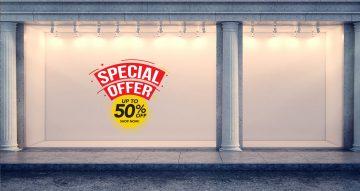 """Αυτοκόλλητα καταστημάτων - Αυτοκόλλητο """"Special Offer"""" κίτρινο-κόκκινο μισή τιμή"""