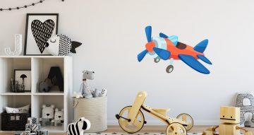 Αυτοκόλλητα Τοίχου - Mπλε-πορτοκαλί μονοθέσιο αεροπλάνο