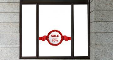 Αυτοκόλλητα καταστημάτων - Αυτοκόλλητο μισή τιμή με κόκκινη κορδέλα