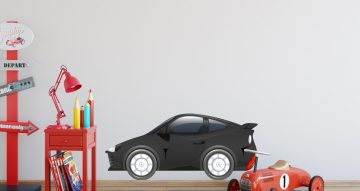 Αυτοκόλλητα Τοίχου - Μαύρο καρτουνίστικο αγωνιστικό αυτοκίνητο