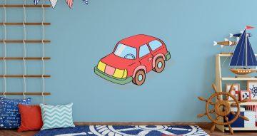 Αυτοκόλλητα Τοίχου - Καρτουνίστικο κόκκινο αυτοκίνητο
