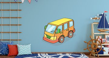 Αυτοκόλλητα Τοίχου - Κίτρινο καρτουνίστικο λεωφορείο