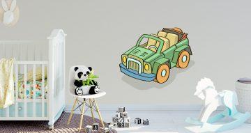 Αυτοκόλλητα Τοίχου - Πράσινο καρτουνίστικο αυτοκίνητο με κουκούλα