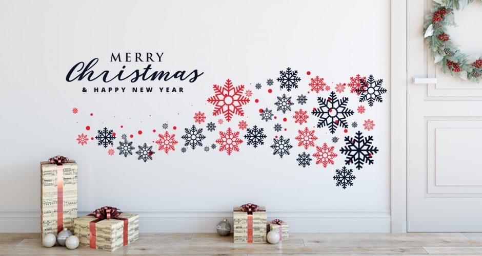 Αυτοκόλλητα Τοίχου - Merry Christmas and a Happy New Year με όμορφες χιονονιφάδες