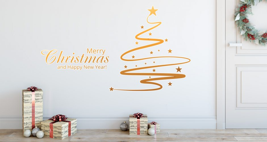 Αυτοκόλλητα Τοίχου - Χρυσό Merry Christmas και Χριστουγεννιάτικο Δέντρο Κορδέλα