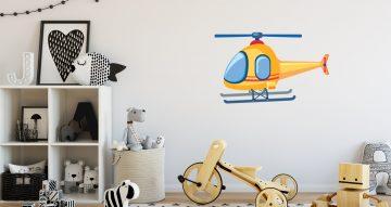 Αυτοκόλλητα Τοίχου - Κίτρινο ελικόπτερο σε καρτουνίστικο στυλ