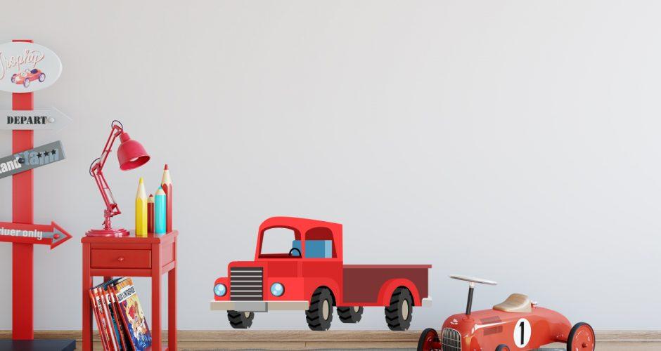 Αυτοκόλλητα Τοίχου - Κόκκινο καρτουνίστικο φορτηγό