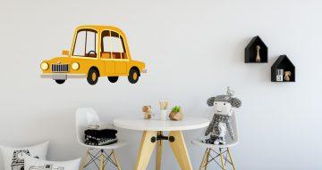 Αυτοκόλλητα Τοίχου - Κίτρινο ψηλό αυτοκίνητο σε καρτουνίστικο στυλ