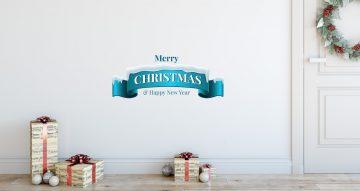 Αυτοκόλλητα Τοίχου - Χιονισμένο Merry Christmas