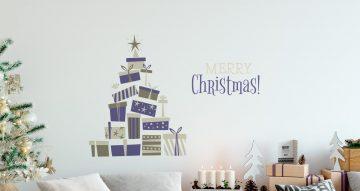Αυτοκόλλητα Τοίχου - Χριστουγεννιάτικο Δέντρο απο δώρα και Merry Christmas