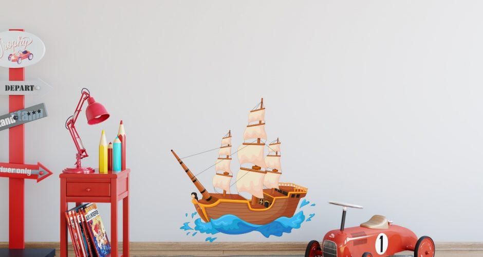 Selected products - Παιδικό αυτοκόλλητο τοίχου - πειρατικό καράβι σε κύματα
