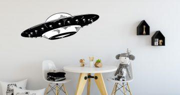 Αυτοκόλλητα Τοίχου - Ασπρόμαυρο διαστημόπλοιο