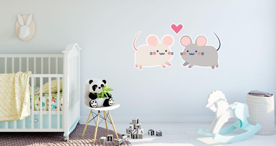 Αυτοκόλλητα Τοίχου - 2 χαρούμενα ποντικάκια