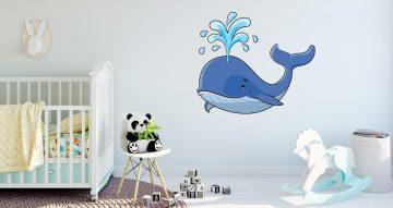 Αυτοκόλλητα Τοίχου - Καρτουνίστικη φάλαινα