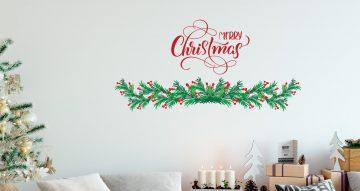 Αυτοκόλλητα Τοίχου - Καλλιγραφικό Merry Christmas με γκι