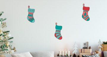 Αυτοκόλλητα Τοίχου - Πολύχρωμες Χριστουγεννιάτικες Κάλτσες