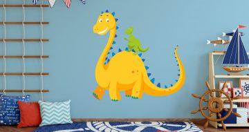 Αυτοκόλλητα Τοίχου - Μεγάλος και μικρός δεινόσαυρος