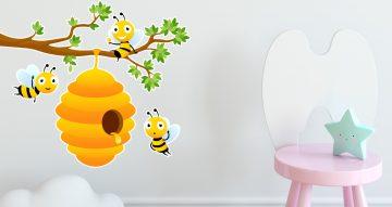 Αυτοκόλλητα Τοίχου - Μελισσούλες σε κλαδί