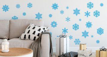 Αυτοκόλλητα Τοίχου - Διάσπαρτες Χριστουγεννιάτικες Χιονονιφάδες