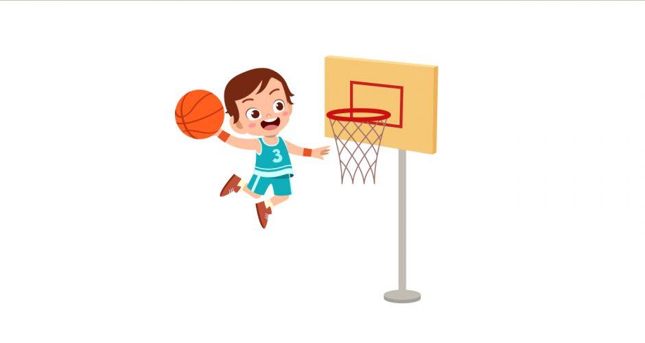 Αυτοκόλλητα Τοίχου - Παιδικό αυτοκόλλητο τοίχου με παιδάκι αθλητή που παίζει μπάσκετ