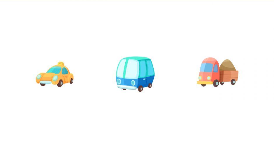 Αυτοκόλλητα Τοίχου - Σύνθεση με καρτουνίστικα οχήματα