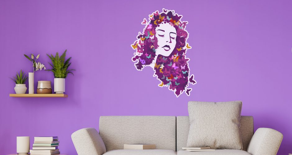Αυτοκόλλητα καταστημάτων - Όμορφη κοπέλα με πεταλούδες - Μωβ