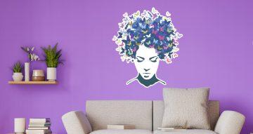 Αυτοκόλλητα καταστημάτων - Όμορφη κοπέλα με πεταλούδες - Μπλε