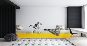 Αυτοκόλλητα Τοίχου - Άλογο ιπποδρόμου να τρέχει