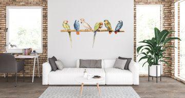 Αυτοκόλλητα Τοίχου - Παπαγάλοι σε έντονα χρώματα