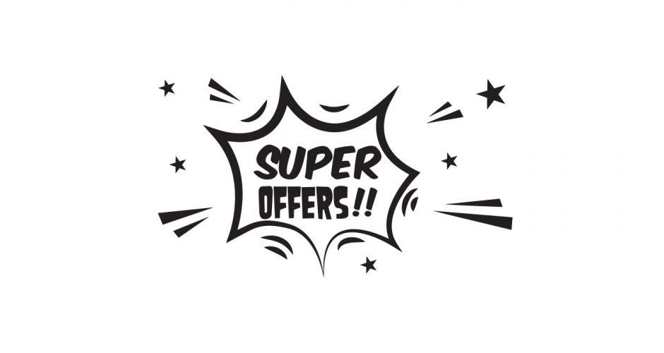 Αυτοκόλλητα καταστημάτων - Super offers comic style