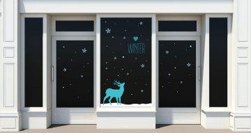 Χειμωνιάτικη βιτρίνα - Χειμερινό ελάφι με κείμενο Winter