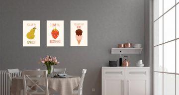Αυτοκόλλητα Τοίχου - Τρία αστεία αυτοκόλλητα με φαγητά