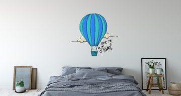 Αυτοκόλλητα Τοίχου - Time to travel αερόστατο