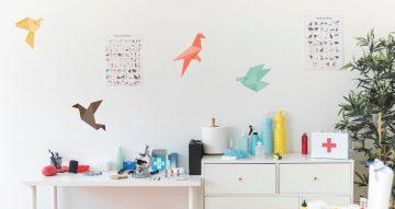 Αυτοκόλλητα Τοίχου - Πολύχρωμα πουλιά origami