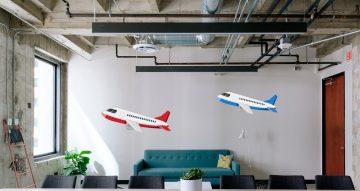 Αυτοκόλλητα καταστημάτων - 4 αεροπλάνα σε διαφορετικά μεγέθη και χρώματα