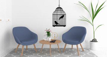 Αυτοκόλλητα Τοίχου - Κλουβί με πουλιά